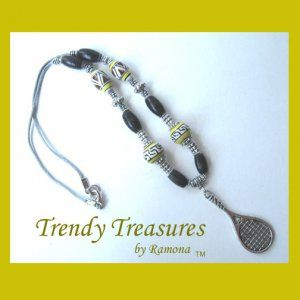 $11.00, 2.80 shipping.  Tennis Racquet, Pewter & Ceramic Bead Accents, Corded Necklace, Mostly Yellow!  #TrendyTreasuresByRamona