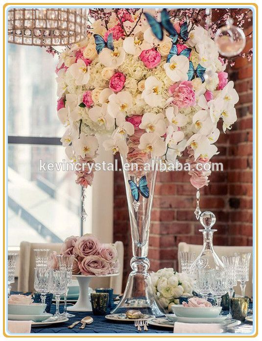 Best Selling Tall Clear Glass Vasecharming Table Decoration Flower