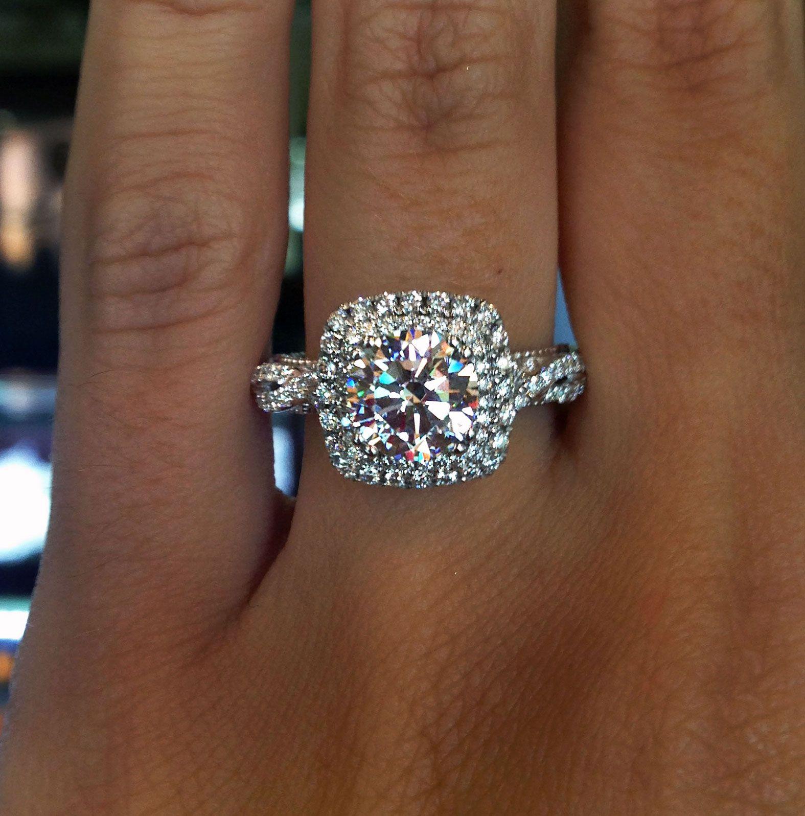 Verragio double halo engagement ring cushion cut halo engagement