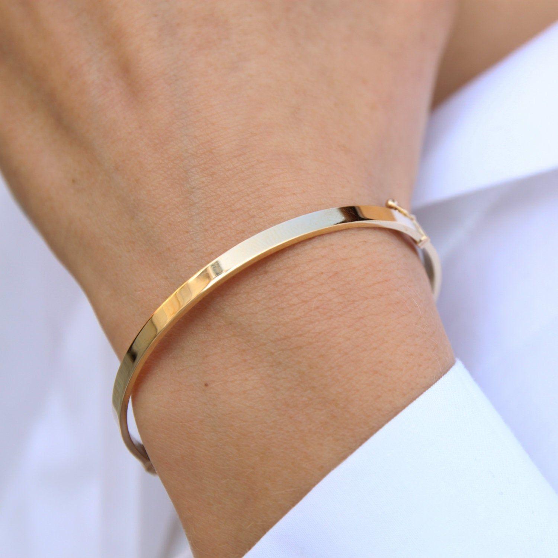Plain Gold Bracelet Gold Bangle Bracelet Simple Real Gold Etsy Mens Gold Bracelets Solid Gold Bangle Gold Bracelet Cuff