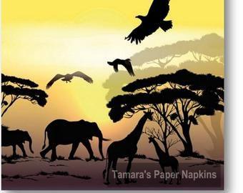 elephant 4 Single paper decoupage napkins.Africa 657 savanna sunset