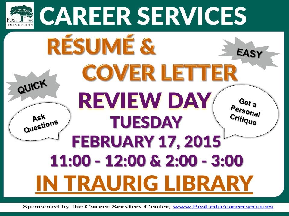 Do you need help with your cover letter or resume? We will be in - resume library