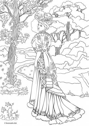 Victorian Fashionista coloring page Zentangles Adult