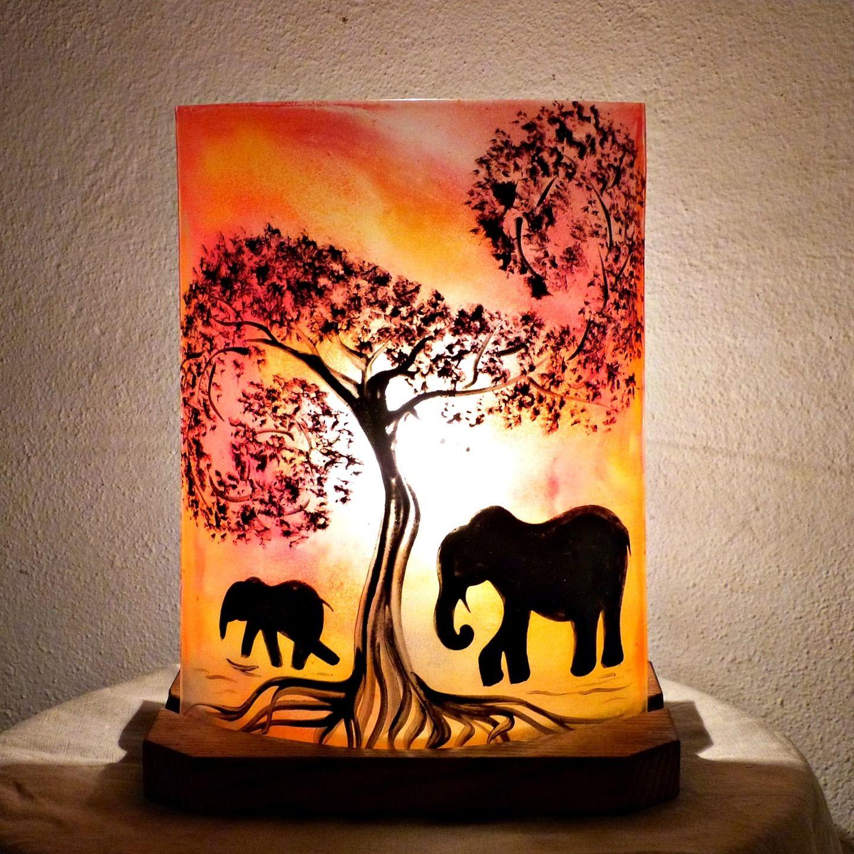 En Rouge Marche Orangé Éléphants Verre Motif La Lampe Des D'ambiance xsdotBrCQh