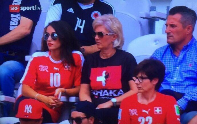 Sibling Rivalry: Granit of Albania & Taulant of Switzerland playing on the same pitch, against each other. Mother Xhaka decided to support both by wearing a special t-shirt.