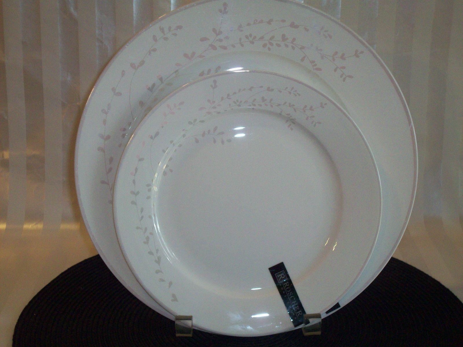 8 PC Roscher Bone China White Pearl Leaves 4 Dinner 4 Salad Plates New | eBay & 8 pc ROSCHER BONE CHINA White Pearl Leaves 4 Dinner + 4 Salad ...