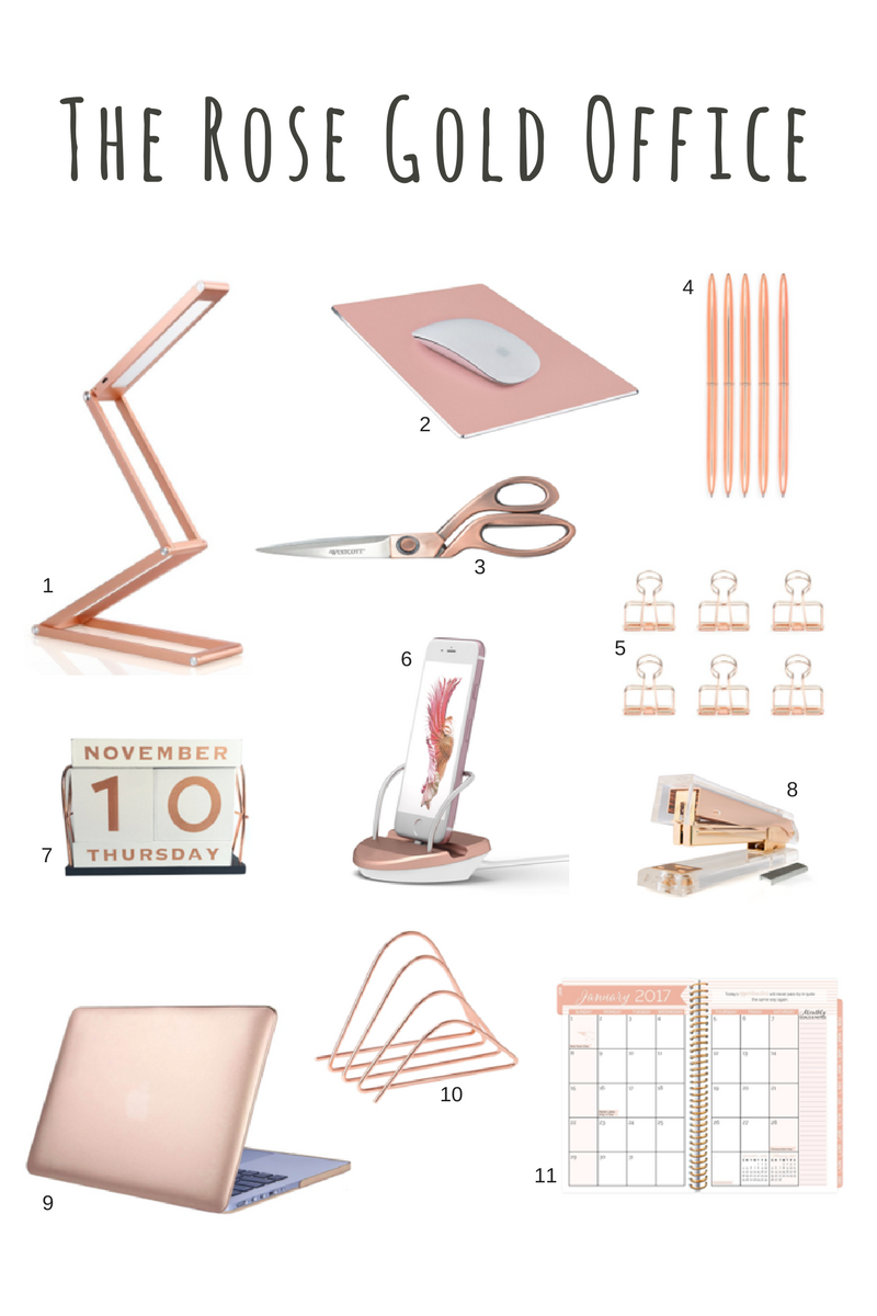 Rose Gold Desk Accessories Rose Gold Scissors Rose Gold Stapler