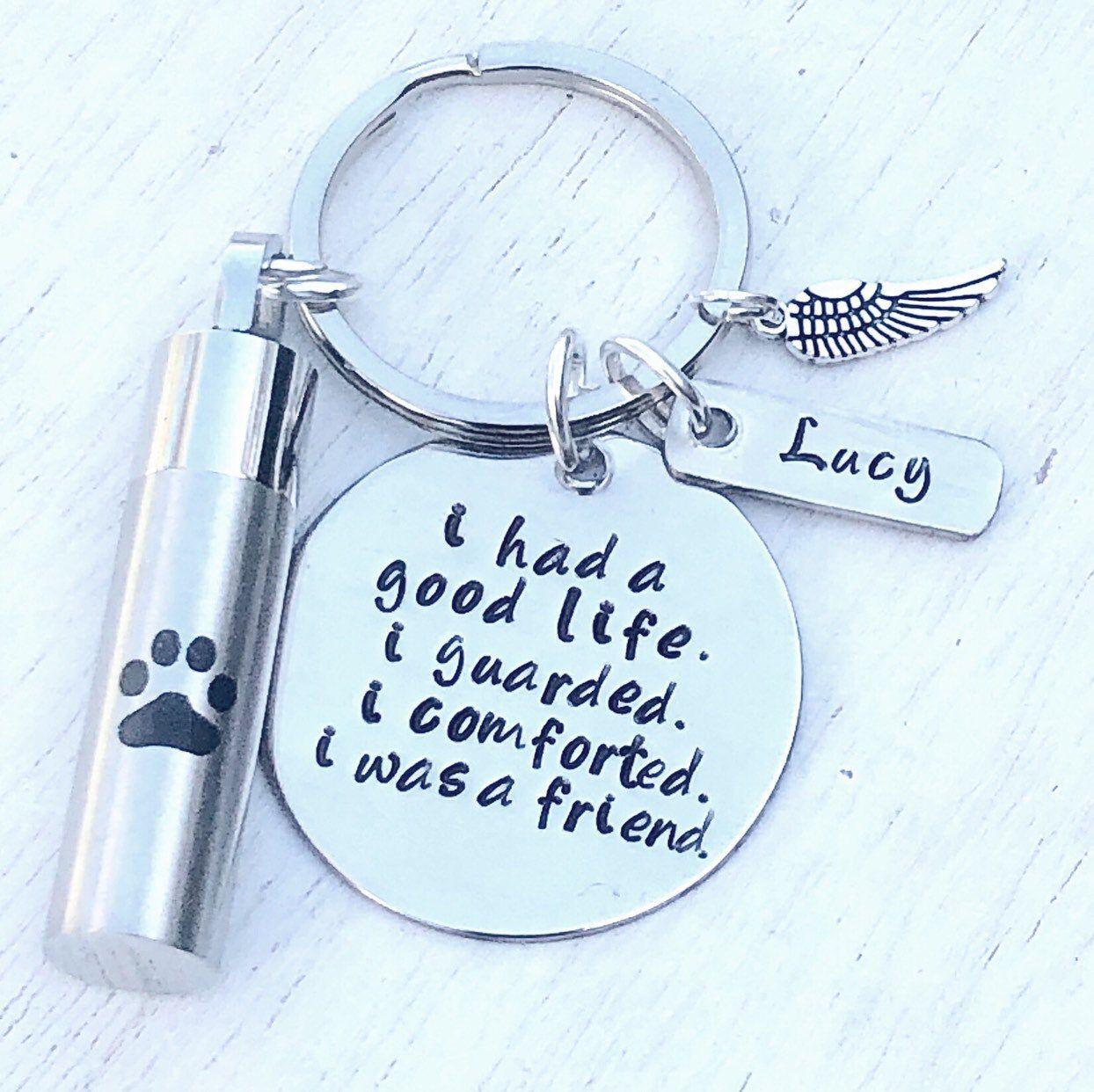 Dog Urn Keychain, Pet Loss, Pet Ashes Jewelry, Pet