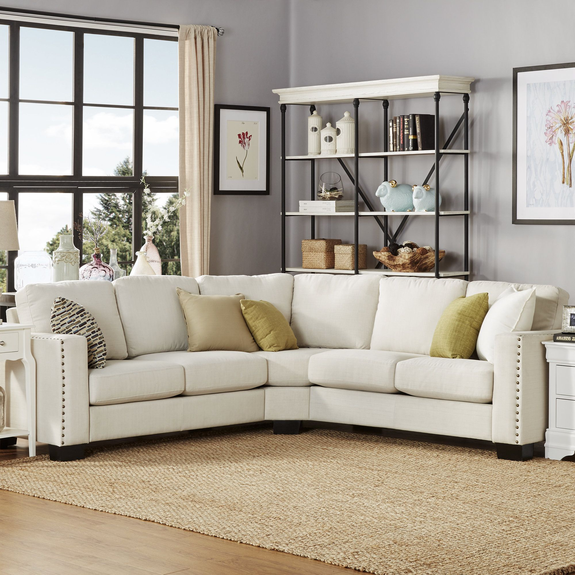 Blackston 5 Seat Nailhead Trimmed Linen L Shaped Reversible Chaise Sectional Sectional Sofa Couch Sectional Sofa Sectional