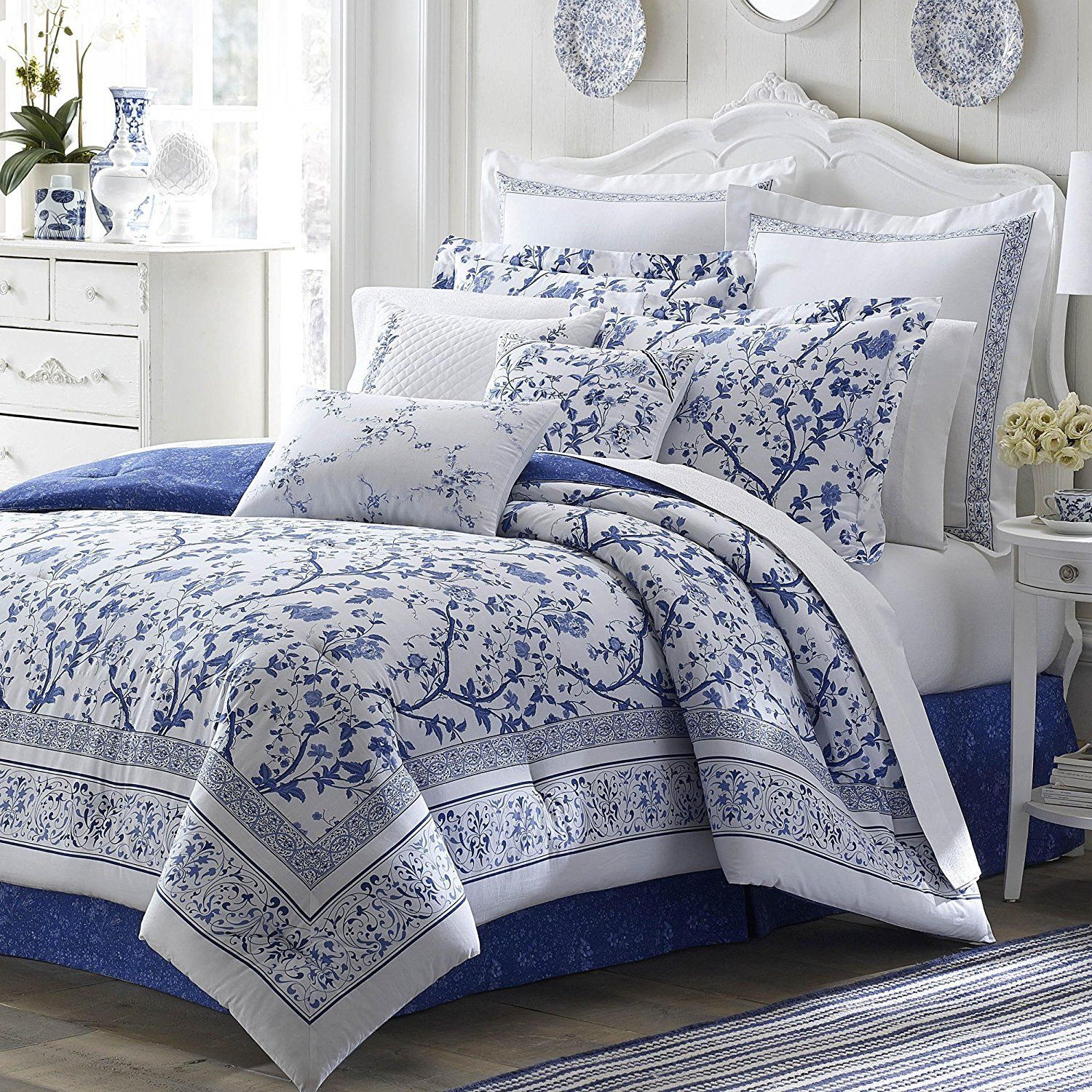 Blue Floral Full Size Comforter Set White French Country