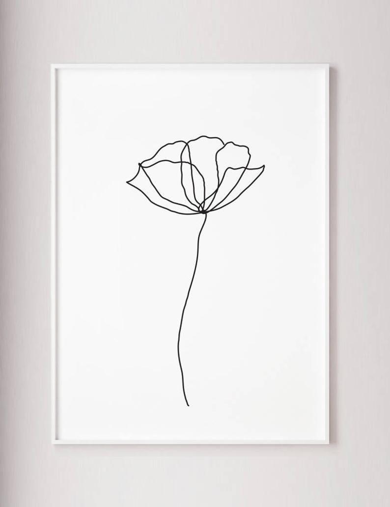 Fleur de pavot ligne muraux imprimer décoration de style art | Etsy