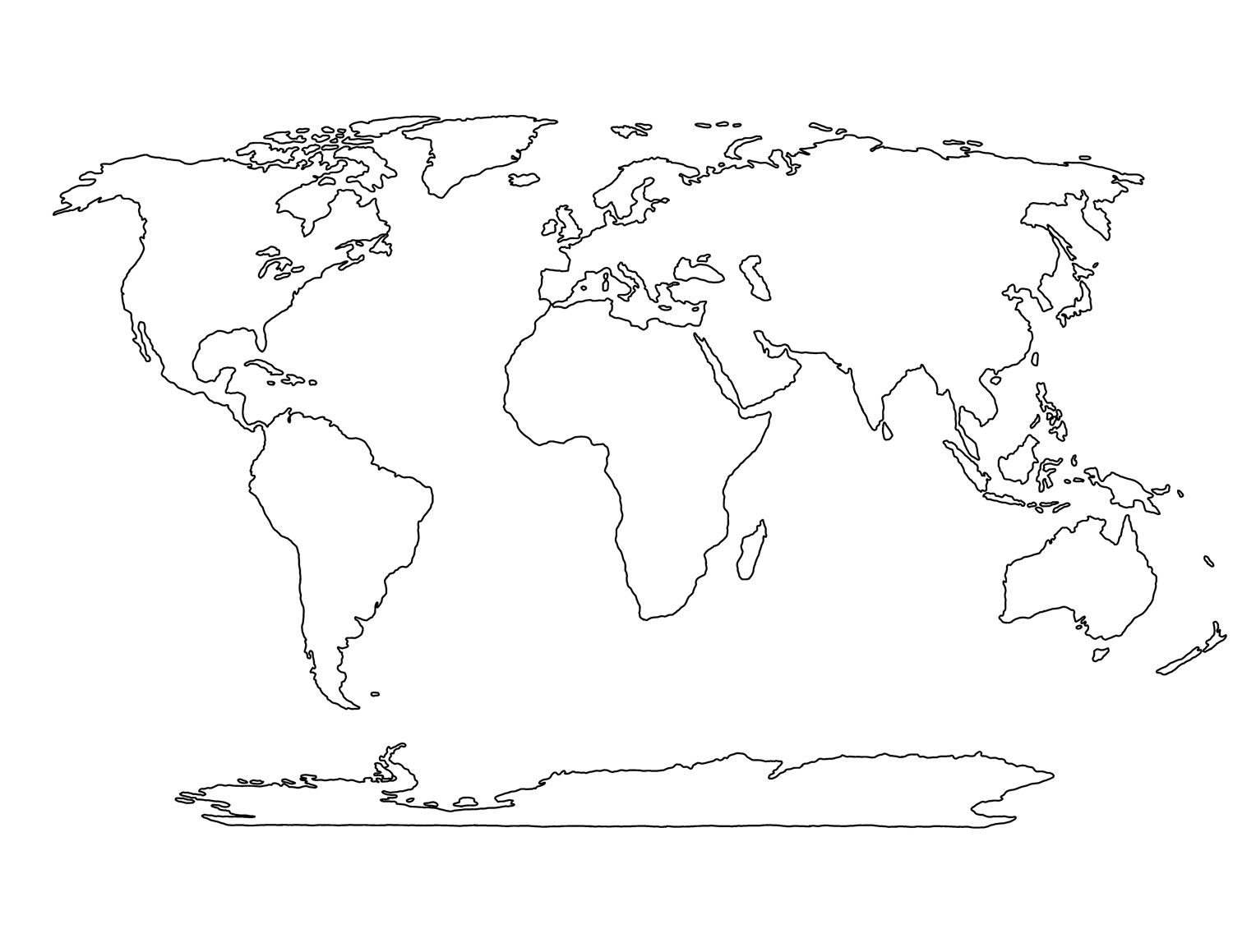 Printable Blank World Map Template For Students And Kids Art