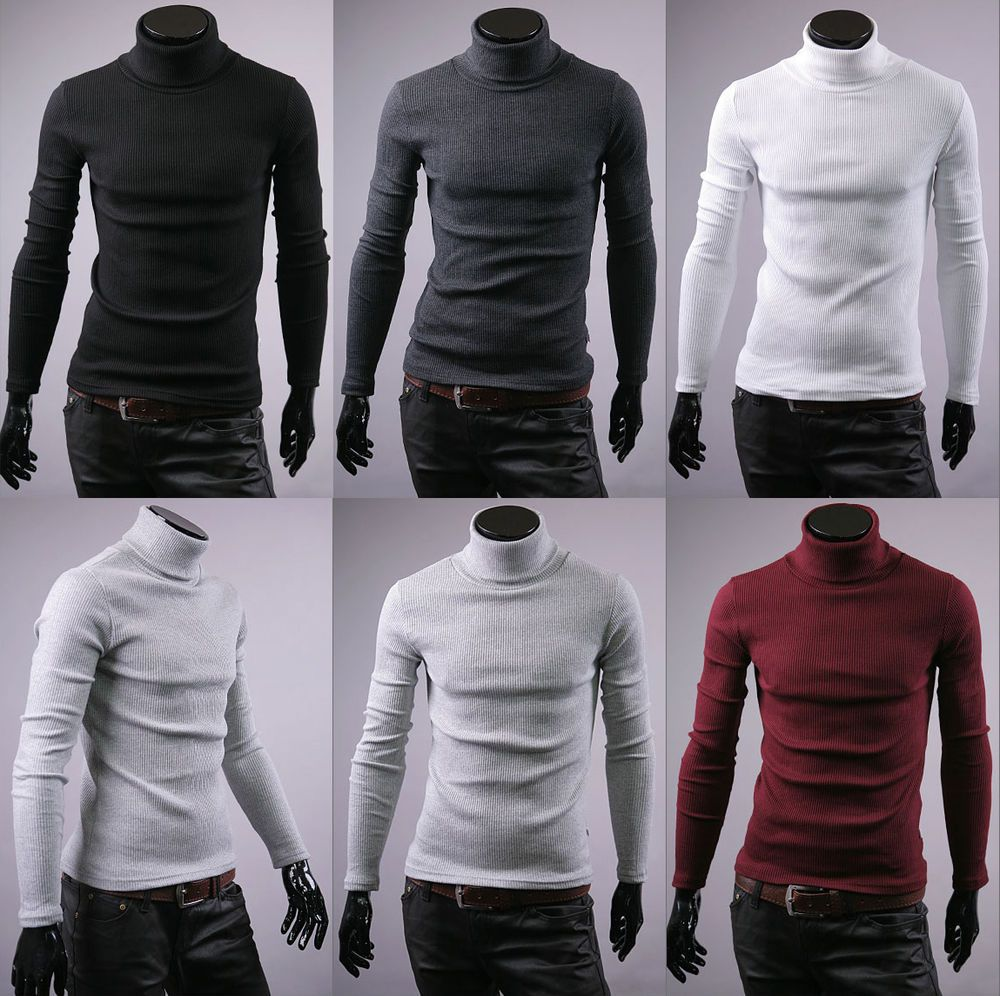 New turtleneck shirts for men stretch polo neck sweater jumper UK ...