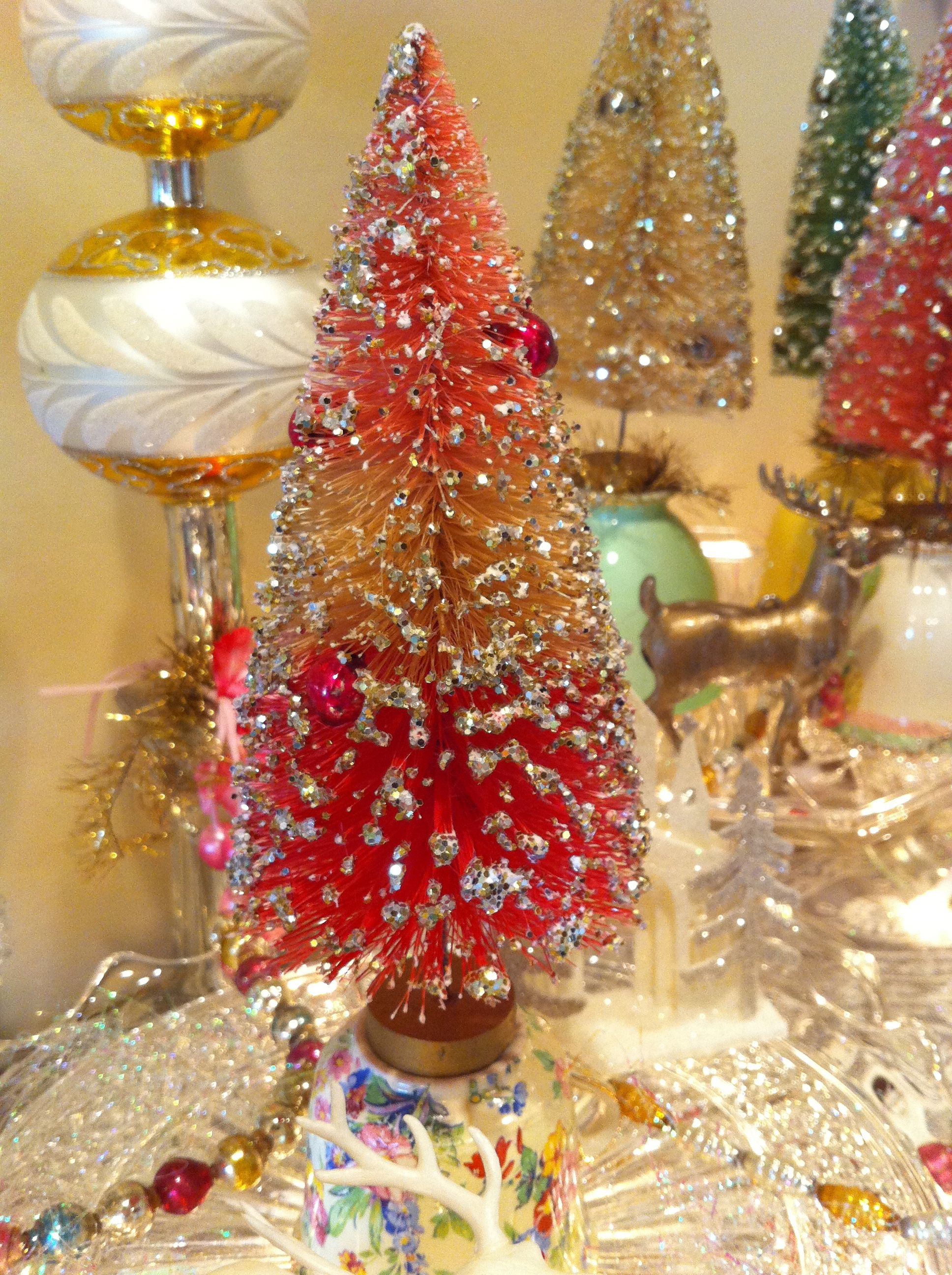 vintage 1940s christmas bottle brush trees