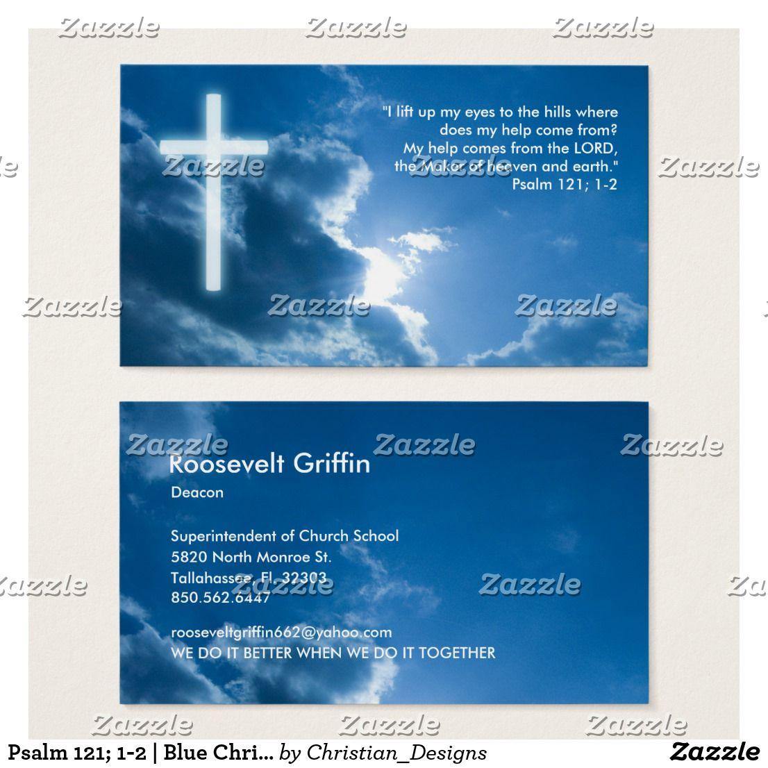 Psalm 121; 1-2 | Blue Christian Business Card | Psalm 121, Business ...