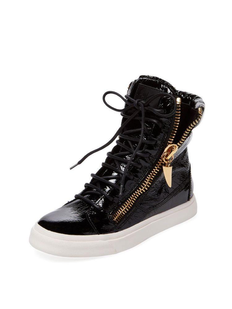 bdd7558248b Giuseppe Zanotti 38 Leather Double Zip Hi Top Sneakers Black Gold  975