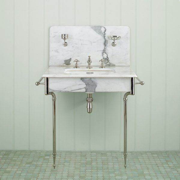 Stand Alone Marble Sink With Chrome Legs U0026 Hardware.