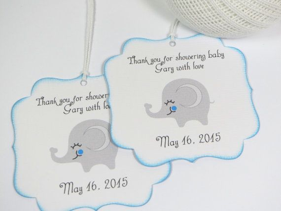 Elephant Baby Shower Favor Tags Boy Baby By Wildsugarberries Baby