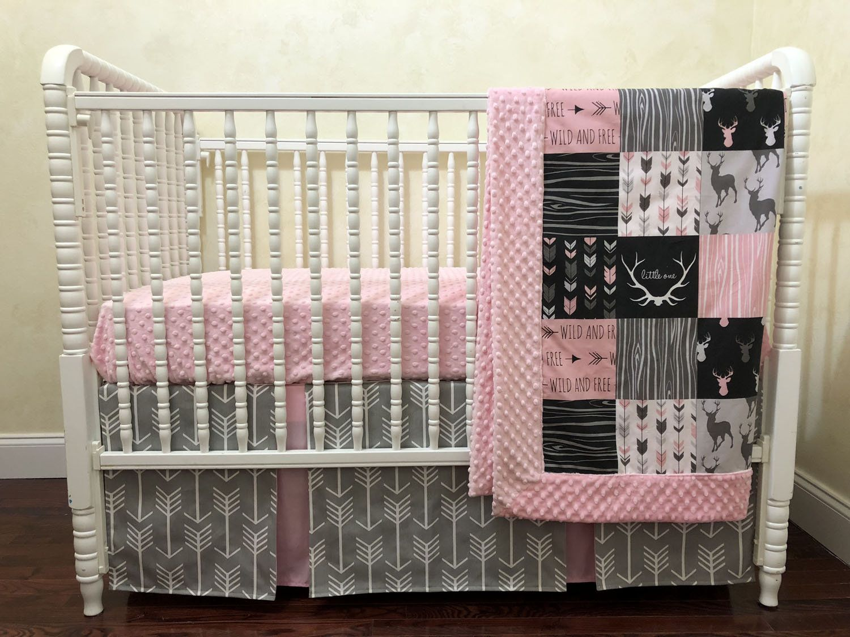 Girl Woodland Crib Bedding Fawn Baby Bedding Coral Peach Mint