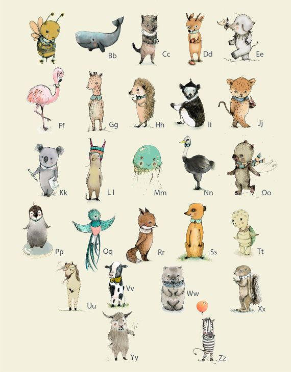 Alphabet Poster Animals Poster Abc Animals Alphabet Print Etsy Alphabet Poster French Alphabet Animal Posters
