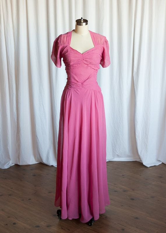 I\'ll Be Lovin\' You dress vintage 40s gown pink by TwoOldBeans | Age ...