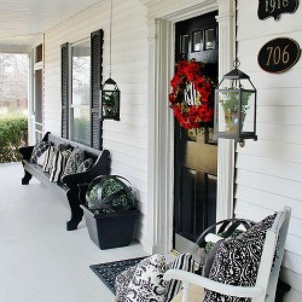 Black and White Farmhouse Front Porch MiniMakeover