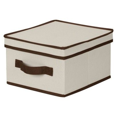 Household Essentials Canvas Cube Storage Box Natural With Coffee Trim Studio Dwelling Storage Boxes With Lids Storage Boxes Lid Storage