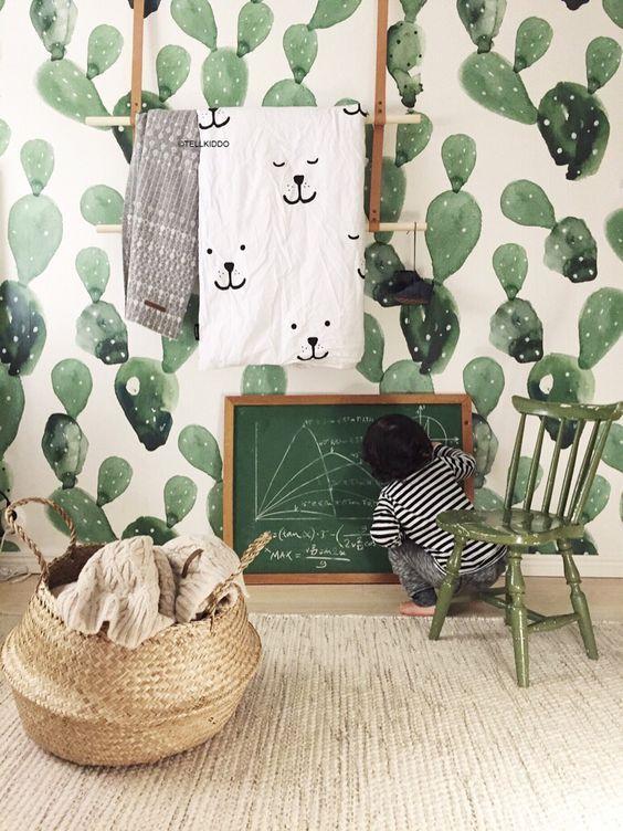 Papel pintado cactus habitaciones de beb s papel for Papel pintado ninos