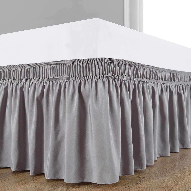 Light Grey Wrap Around Bed Skirts Linen Wrap Around Bed Skirts Wrap Around Bed Skirt Bedskirt Dust Ruffle