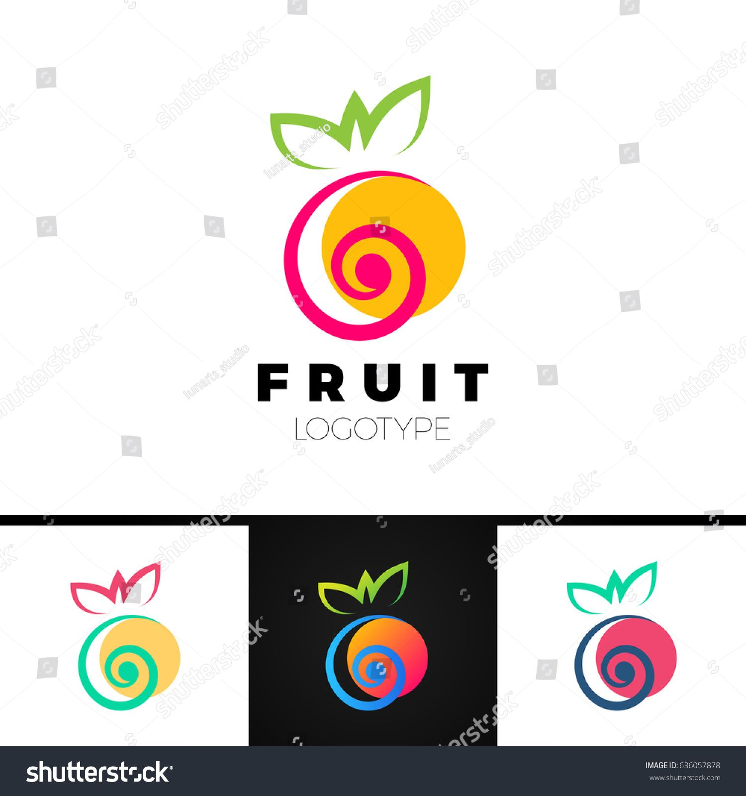 Abstract Fruit Logo Template With Spiral Element Creative Symbol