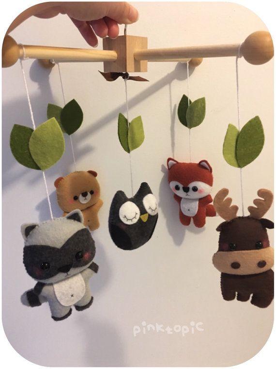 wald tiere kreaturen baby mobile wald von pinktopic auf etsy n hen pinterest. Black Bedroom Furniture Sets. Home Design Ideas