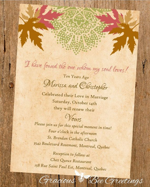 Handfasting Invitation: Autumn Vow Renewal Invitation Digital By