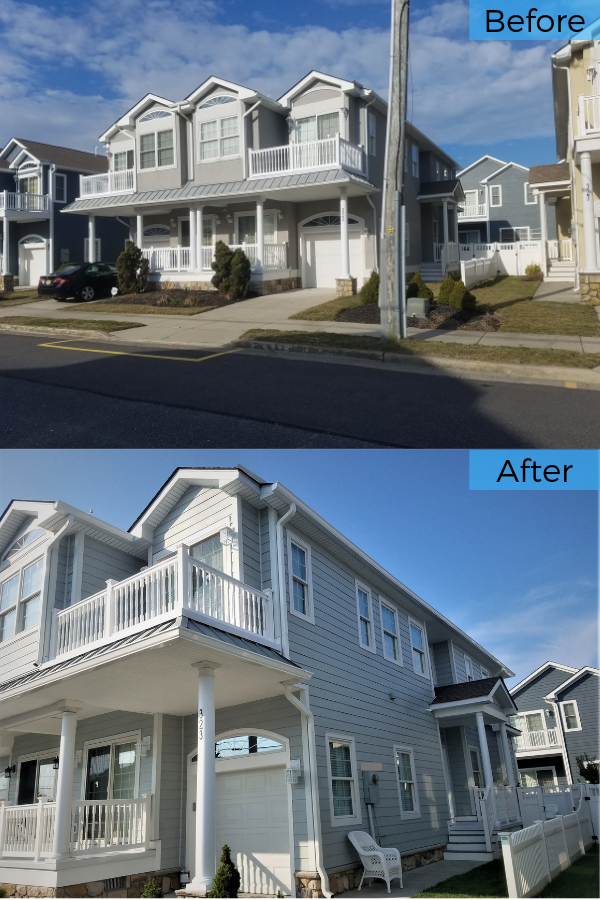 James Hardie Fiber Cement Products Are The Ideal Siding Option For Jersey Shore Home Take A Look At This Stucco Replacement Wildwood Crest Hardie Hardie Plank