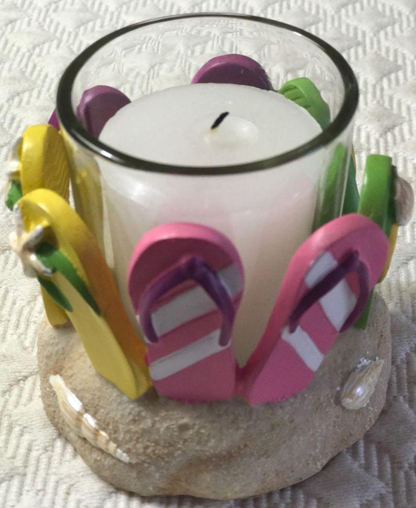 Yankee candle flip flop votive holder beach sand shells sandals