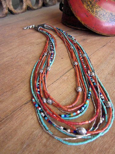 turquoise heishi necklace | Multi Strand Heishi Turquoise Coral necklace - Yuma
