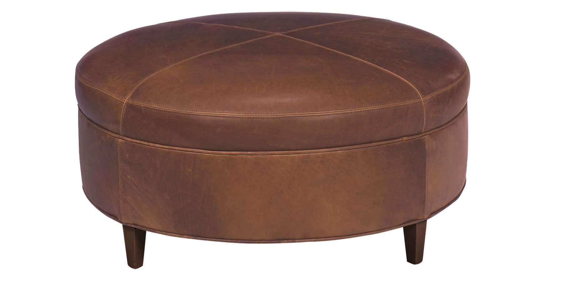 Andover ready to ship 40 inch round leather ottoman