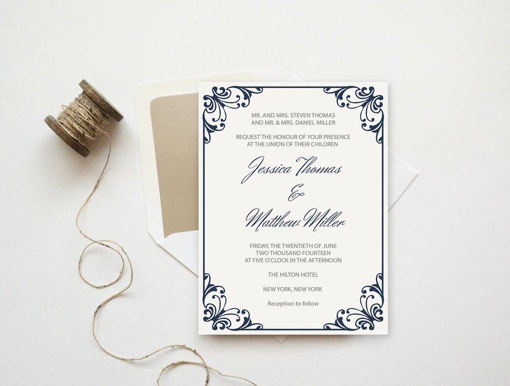 Navy Flourish Frame Printable Wedding Invitation Template | Wedding ...