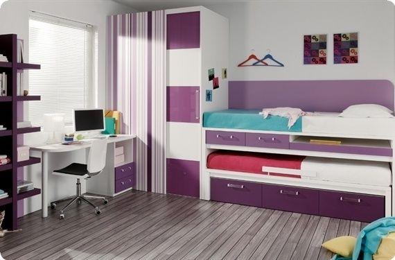 Mueble juvenil dormitorios juveniles habitaciones juveniles en madrid camas compacto con mesa for Habitaciones juveniles 3 camas