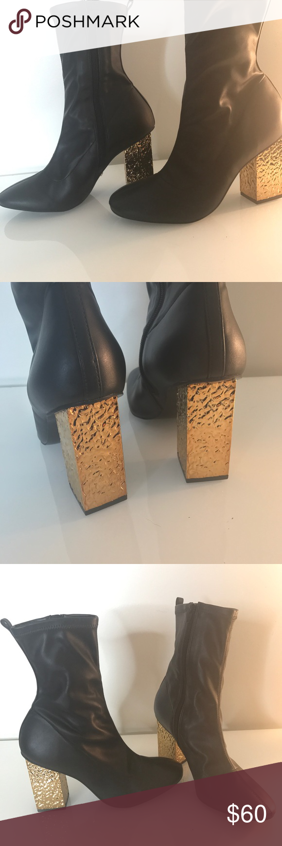 Topshop black booties with gold heel NWOT Topshop black booties with gold  heel NWOT Topshop Shoes Ankle Boots   Booties 38097a52ab2b6