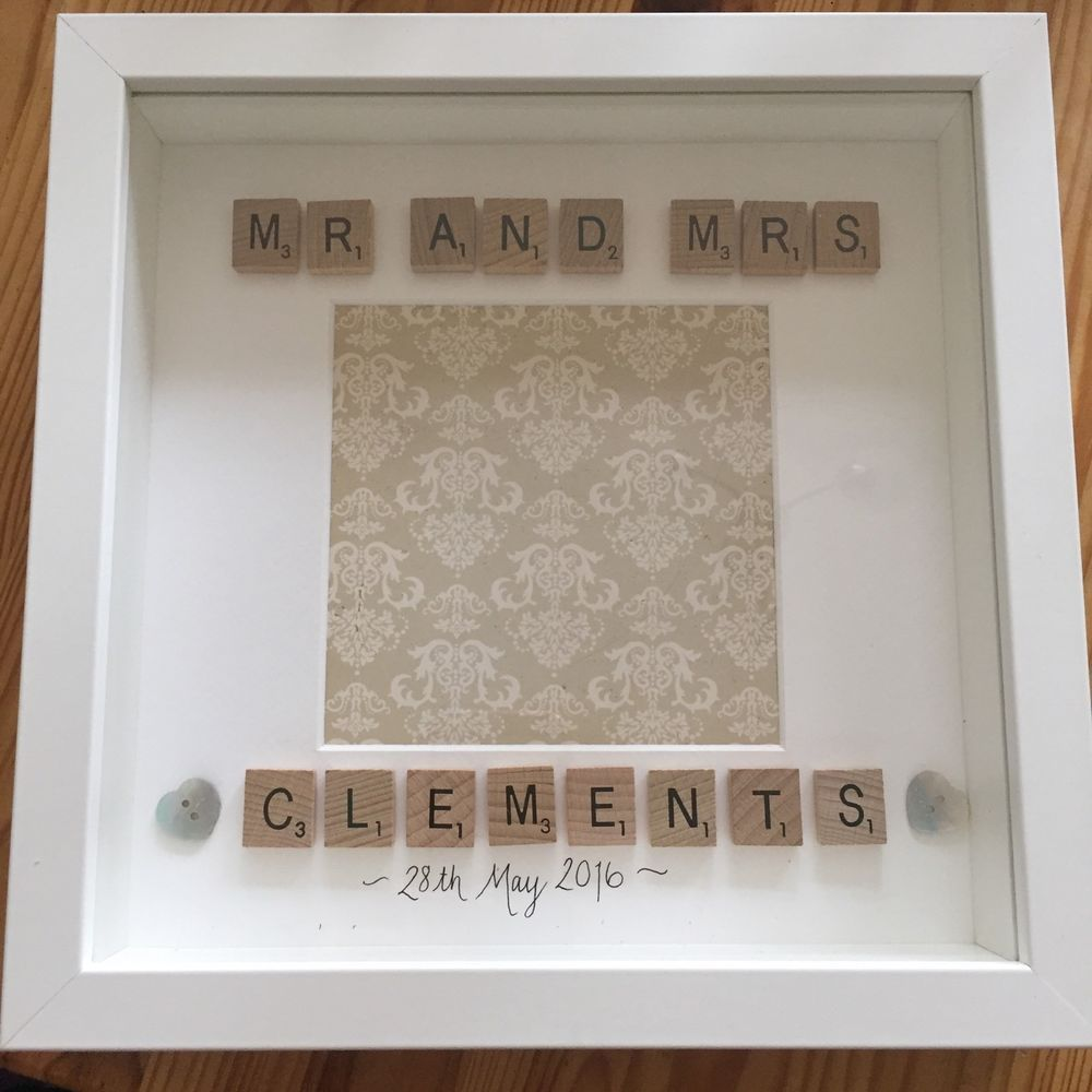 Wedding Gift Photo Frame Personalised Mr And Mrs Scrabble Letters White Ebay