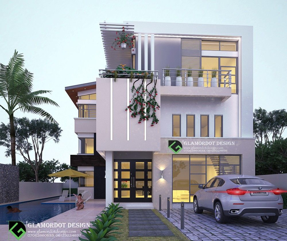 5 Bedroom Contemporary House Plan Duplex With Pent Floor Architecture Residential Contemporary Luxury Duplex House Design House Styles Bungalow Design