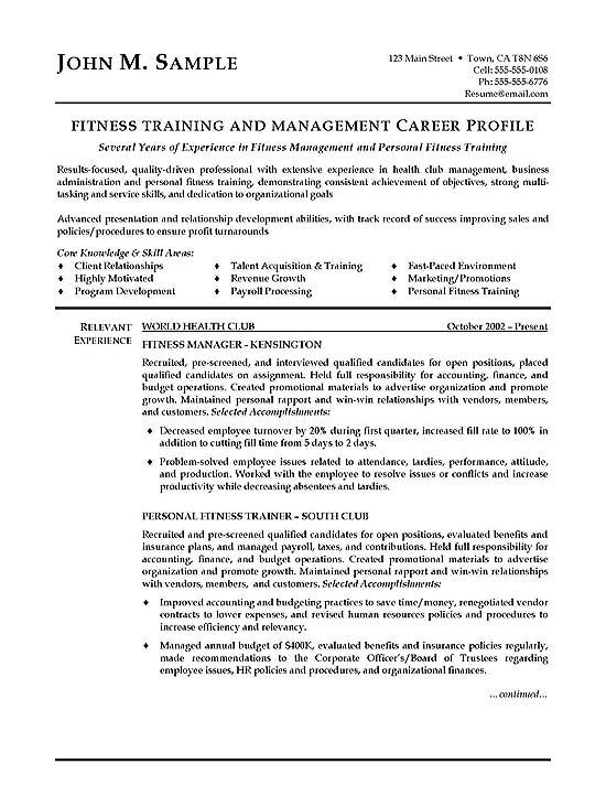 trainer and manager resume fitness resumes