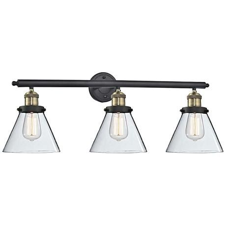 Cone Collection 32 Wide Clear Glass Black Brass Bath Light 365