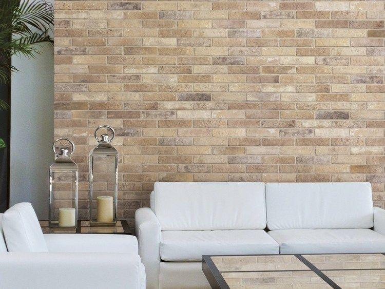 Backstein Tapete in zurückhaltenden sandigen Nuancen fürs elegante - backstein tapete wohnzimmer