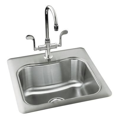 Kohler Staccato Drop In Stainless Steel 20 In 1 Hole Single Bowl