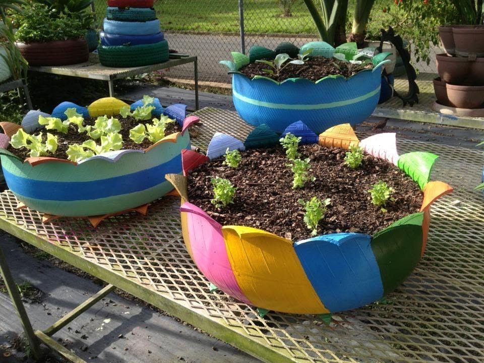Macetas hechas con llantas recicladas cultivo de - Decoracion con ruedas ...