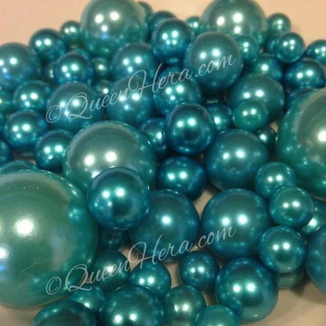 Teal Blue Pearls For Floating Pearl Centerpieces Jumbo Pearls Vase