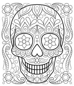 smiling halloween sugar skull   kostenlose erwachsenen malvorlagen, lustige malvorlagen