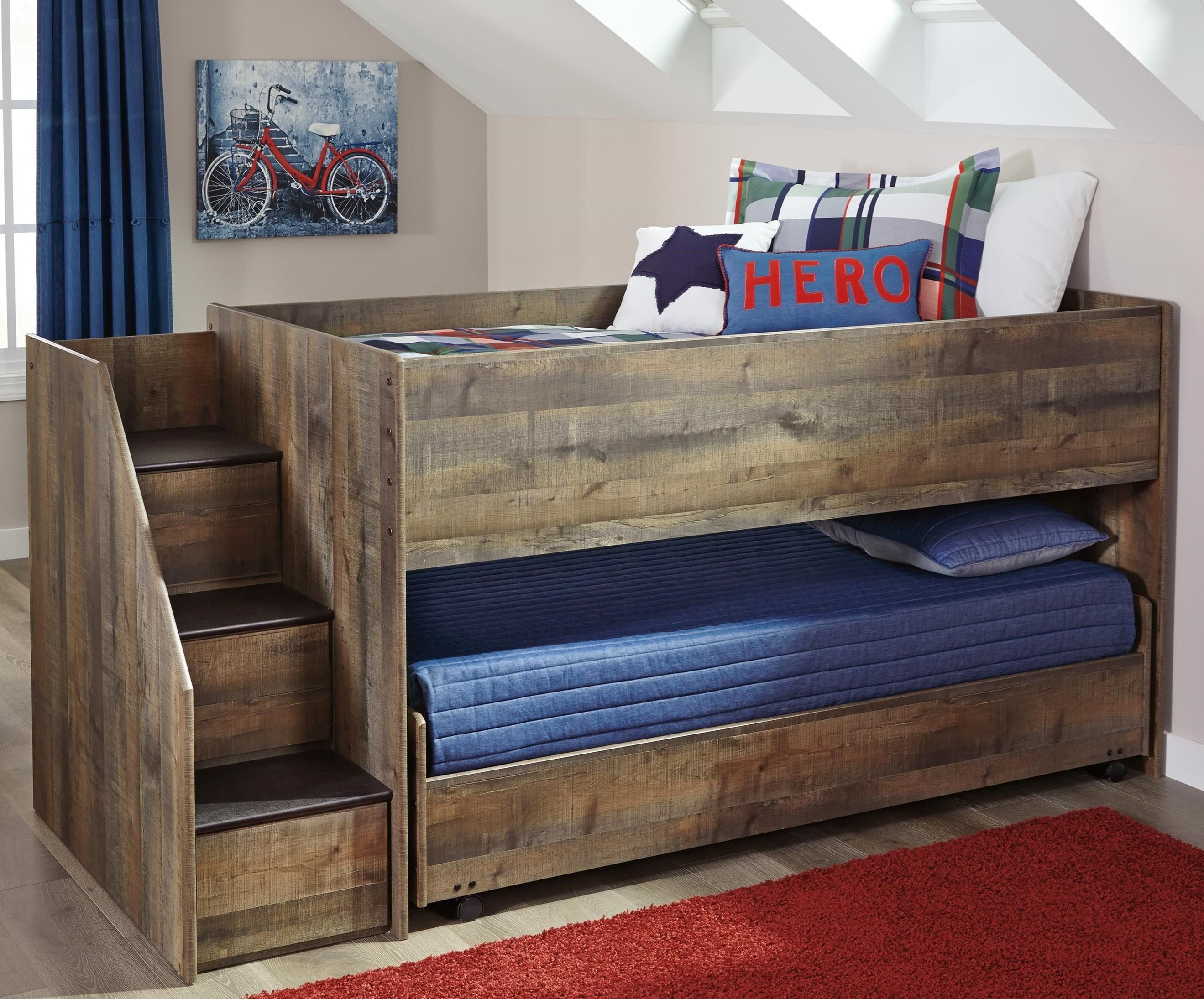 Loft bed storage stairs  Trinell Loft Bed with Storage Stairs  Babies and Children