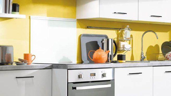 cuisine noir blanc jaune   Cuisine noir, Cuisine jaune gris et ...